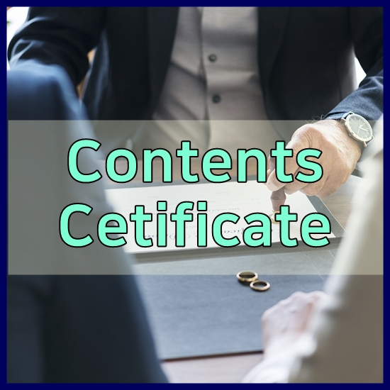 contents certificate